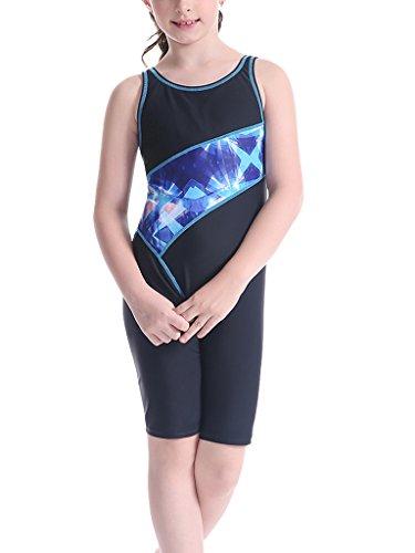 Perfashion Mädchen Schwimm Boyleg Sports Badeanzug (140, Blau 043)
