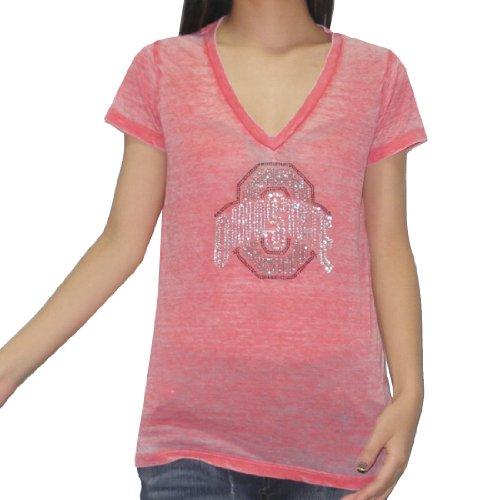 NCAA Ohio State Buckeyes Damen Rhinestones T-Shirt(Vintage Look) Large Red (Jersey T-shirt Ohio)