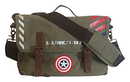 BB Designs Europe Limited Unisex-Erwachsene Ca Vintage Military Army Zip Top Satchel Tasche, Green (Vintage Green), Standardgröße (Captain America Erwachsene Kit)