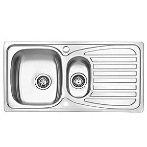 JASS FERRY Fregadero de cocina, acero inoxidable, 1,5 senos, reversible, con trampilla para residuos, tuberías y clips…
