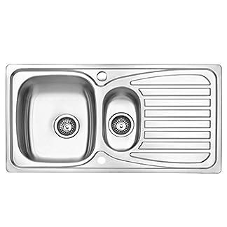 JASS FERRY Fregadero de cocina, acero inoxidable, 1,5 senos, reversible, con trampilla para residuos, tuberías y clips