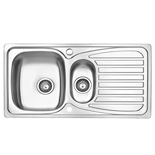 Jass Ferry Lavello da cucina acciaio inox da incasso con vasca grande e piccola reversibile tubi di scarico plastica