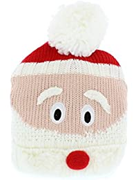 The Hat Company Funny Festive Christmas Santa's Head Knitted Bobble Hat