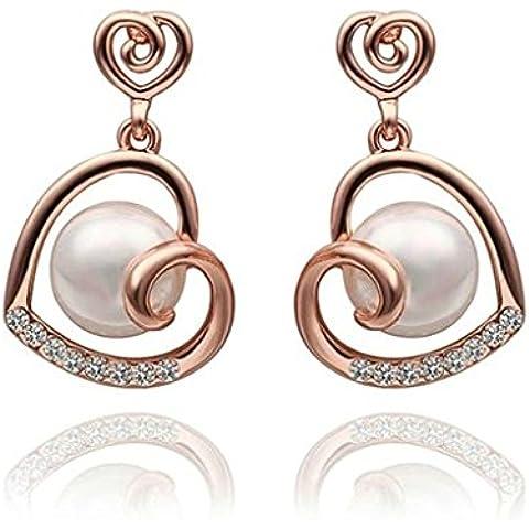 Gnzoe Gioielli 18K Oro Rosa Placcato Drop Orecchini Cava Cuore Pearl Cristallo Eco (Cuore Rosa Orecchini)