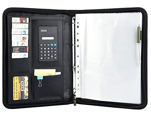 HOGAR AMO Cartella per conferenze A4 Morbida Finta Pelle Borsa per Documenti Aziendali Portafoglio Organizzatore con Cerniera e Raccoglitore ad Anelli, Calcolatrice,Tasca per i File