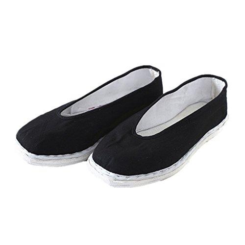 Meijunter Hommes Chaussures chinoises Slip-on Coton Chaussures de toile Chaussons Fait main Noir