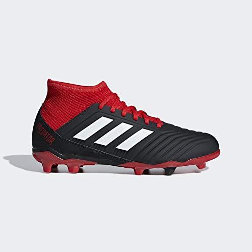 adidas Unisex-Kinder Predator 18.3 FG Fußballschuhe, schwarz/rot/weiß, 34 EU