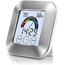 Termometro Igrometro Digitale, Adoric Termometro digitale con LED retroilluminazione e memoria max/min temperatura di umidità per interno,due batterie incluse.