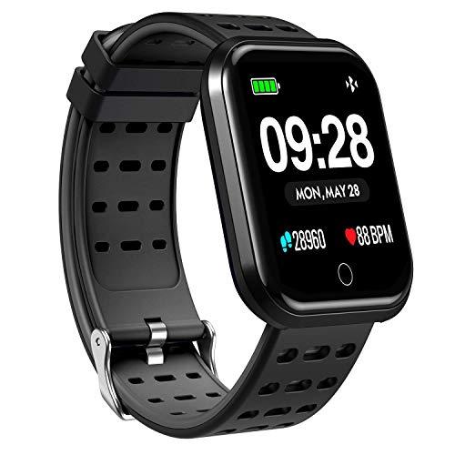 ZZALL Smart Watch, tragbare Bluetooth-Laufen GPS-Fitness-Tracker-Uhr mit Pulsmesser, Wasserdichte Smart-Armband-Pedometer-Uhr für Kinder Frau Mann (Schwarz)
