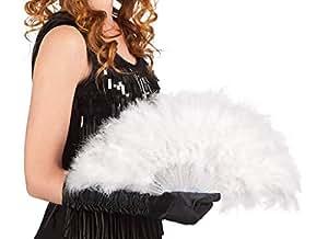 PICCOLI MONELLI Ventaglio Piume Bianco Burlesque Donna per Carnevale