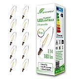 10x greenandco® CRI90+ Glühfaden LED Lampe ersetzt 19 Watt E14 Kerze, 2W 180 Lumen 2700K warmweiß Filament Fadenlampe 360° 230V AC nur Glas, nicht dimmbar, flimmerfrei, 2 Jahre Garantie