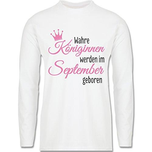 Geburtstag - Wahre Königinnen werden im September geboren - Longsleeve / langärmeliges T-Shirt für Herren Weiß