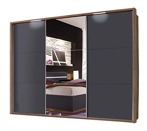 Avanti trendstore - andalo - armadio con ante scorrevoli e 1 specchiata, in laminato di legno di noce colombia e di colore nero opaco, senza passepartout, dimensioni complete: lap 270x210x60 cm