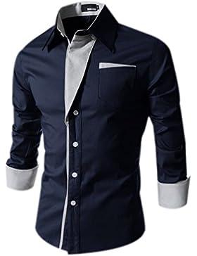 Fuxiang Camicie Uomo Slim Fit Maniche Lunghe Casual Camicia Top Classiche Camicetta Shirt Moda Men Colore Puro...