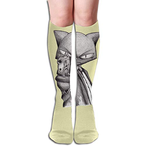 Gangster Cat Knee High Socks, Unisex Tube Compression Thigh Sock Crew Athletic Football Stockings ()