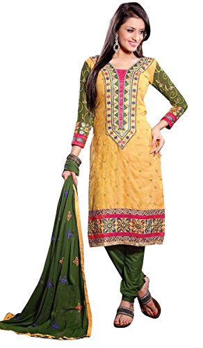 Gestickte Salwar Kameez Georgette Unstitched Stoff Anzug gerades Kleid (Chiffon Kameez Gelb)