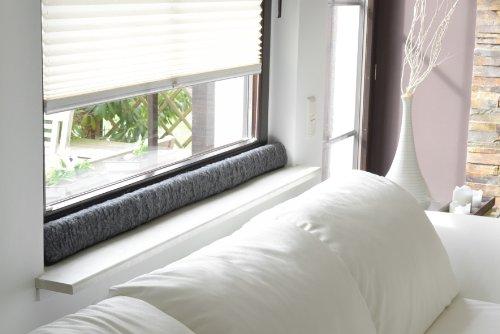Zugluftstopper für Fenster aus 100% Schurwolle, anthrazit, 120x10x5cm