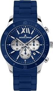 JACQUES LEMANS Rome Sports 1-1586C - Reloj unisex de cuarzo, correa de silicona color azul claro de JACQUES LEMANS