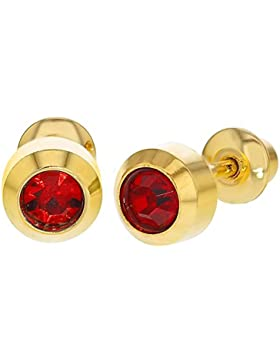 In Season Jewelry Baby - Schraubverschluss Ohrringe Runde Lünette 18k Vergoldet Roter Kristall
