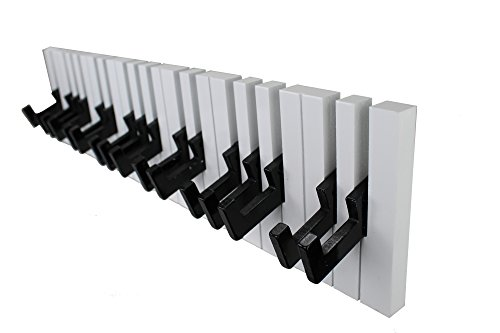 GMMH - Ganchos para Perchero (16 Ganchos, para Soporte de Pared), diseño de Piano, Color Blanco y Negro
