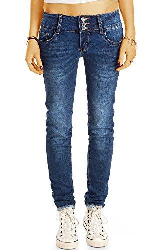 bestyledberlin Damen Skinny Fit Jeans, Basic Röhrenjeans, Schmale Hüftjeans j44k 40/L