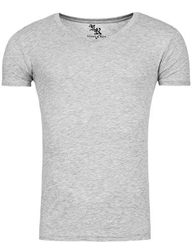 Star Designer Young & Rich T-Shirt Basic Uni V-Neck V-Ausschnitt Freizeit D.G in verschiedenen Farben Creme
