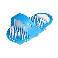 QueenHome 1 Pack Bathroom Shower Foot Cleaner,Plastic Bath Shoe Shower Brush Massager Slippers,Blue Foot Scrubber Brushes Scrub Massage Sandals,Bath Shoes For Feet Massager(Blue)