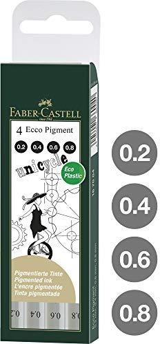 Faber-Castell 167004 Tintenschreiber, ECCO PIGMENT, 0.2 mm - 0.8 mm, 4 Stück -
