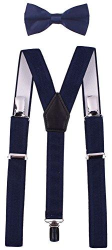 Hosenträger Damen Herren 3 Metallclips in Y-Zurück hochelastische und längeneinstellbare Hosenträger eine Fliege in verschiedenen Farbendesigns zum 1 Set Blau mit geraden Linien