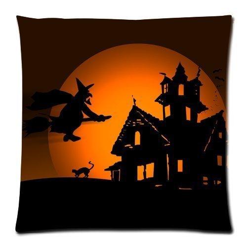 Custom Square Cushion Cover Happy Halloween Cat with Witch Zippered Pillow Case Kissenbezüge 16x16Inch(40cmx40cm) (Stitch Happy Halloween)