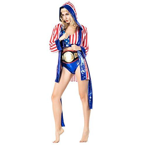 Mädchen Boxer Kostüm Ring - LCWORD Halloween Erwachsene Männer Frauen Boxen Boxer Rolle Spielen Anzug Karneval Cosplay Kostüm,A