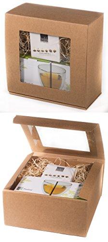 BIO TEEBLUMEN-GESCHENKSET / 2x 250ml Herzglas doppelwandig + 6er-Box bedida BIO-Teeblumen weißer Tee in neutraler naturfarbiger Geschenk-BOX: -