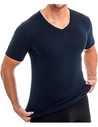 HERMO 4880 Lot de 3 Business Shirt Homme à manche courte avec col V, Maillot de corps demi-manche en 100% coton d'Europe