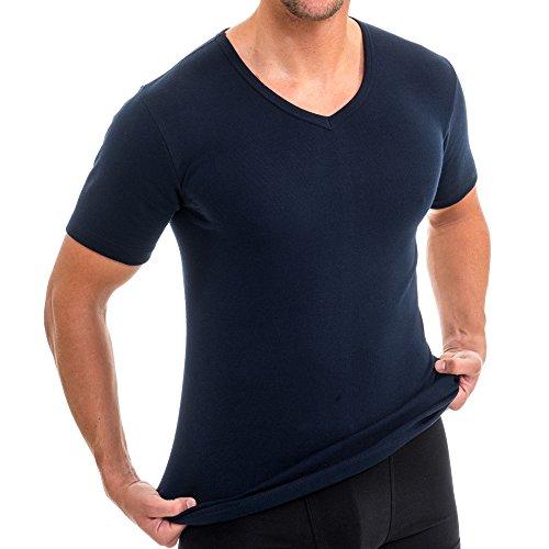 HERMKO 4880 3er Pack Herren kurzarm Business Shirt VNeck Weitere Farben  Marine a270ad1391