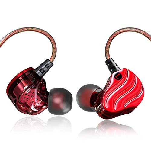 Yaobuyao Headset mit In-Ear-Funktion, geräuschisolierendem In-Ear-Ohrhörer-Player und 3,5-mm-Audiogerät,Red -