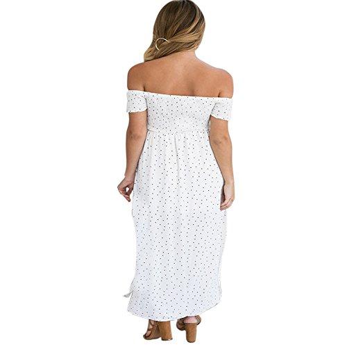 ROMANTIC BEAR Damen Schulter Split Langen Sommer Boho Casual Strand Kleid Weiß