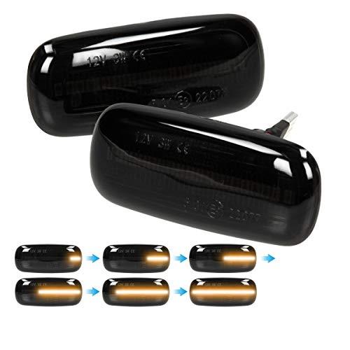 ECD Germany 2 x Indicatore Laterale LED Smoke - 12 V - Nero - con marchio E9 - Tecnologia Plug & Play - Indicatore Luminoso Indicatore di Direzione Sinistro Destro LED Lampeggiante per Auto