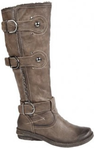 Cats Eyes Women's Black Zip 3 Buckle Strap High Leg Boot L823A Brown