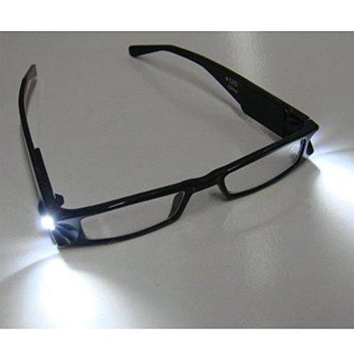 Skitic LED-Leselicht Brille Lesebrille, Unisex Modische Rahmen Brille Sehstärken Lesehilfe mit Zuschaltbarem LED Licht Beleuchtete für Damen Herren Reader +1,0 +1,5 +2,0 +2,5 +3,0 +3,5 +4,0 Dioptrien - Schwarz (Camping-womens Licht)