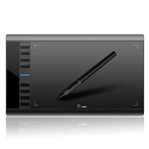 """AEDU USB Grafiktablett Zeichentablett Pen Tablet 10 x 6"""" Digitalisiertablett mit Stift und 8 Schnellzugriffstasten zum Digitalen Malen & Zeichnen (5080 LPI 230 RPS 2048 Stufen) Geeignet für Grafikprogramme Photoshop Painter Comic Studio/Sai IS 3DMAX Maya Zbrush, Win7/8/10 Windows XP Windows Vista Mac OS X Unterstützt Schwarz"""