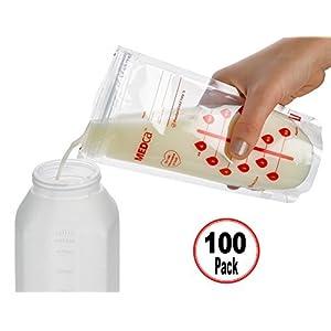 Bolsas de almacenamiento de leche materna MEDca, 100 unidades, libre de BPA, 6oz / 180ml 1