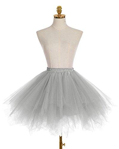 Dresstells Damen Tutu Unterkleid Kurz Ballett Tanzkleid Ballklei Abendkleid Gelegenheit Zubehör Grey