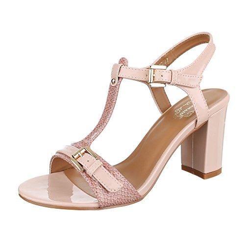 High Heel Sandaletten Damen-Schuhe Plateau Pump Moderne Schnalle Ital-Design Sandalen / Sandaletten Rosa, Gr 38, 17-M61079C-
