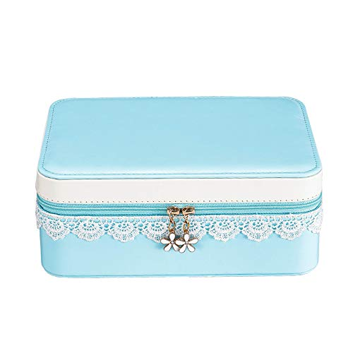 (YANHTSO Schmuckschatulle Prinzessin Europäischen Schmuck Aufbewahrungsbox Doppel Große Kapazität Schmuck Ohrringe Finishing Ohrringe Box (Farbe : Blau, größe : 21.5cm*9cm))