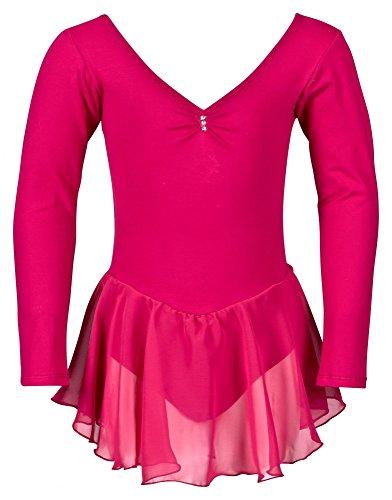 """tanzmuster Kinder Langarm Ballettkleid \""""Anna\"""" aus Baumwolle mit Chiffon Röckchen. Süßer Ballettanzug / Ballett Trikot mit Strasssteinchen in pink, Größe:164/170"""