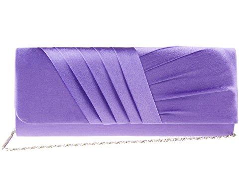 Nuovo lungo nastro di raso a pieghe sera frizione borsa disponibile in diversi colori~accessorize-me 883, weddings Direct matrimonio Viola (Viola chiaro)