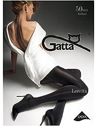 Gatta Loretta 100 - 50den - blickdicht gemusterte schwarze Strumpfhose mit trendigem Naht Muster