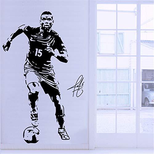 KKFBSS Adesivo da Parete Stella del Calcio Football Soccer Star Pogba Silhouette Adesivo murale Studenti Dormitori Camera da Letto Palestra Decorazione murale Adesivi Poster