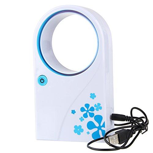 Beauty7 Mini Ventilador Sin Aspas Portátil De Mano Alimentación USB con Pilas (Azul y Blanco)