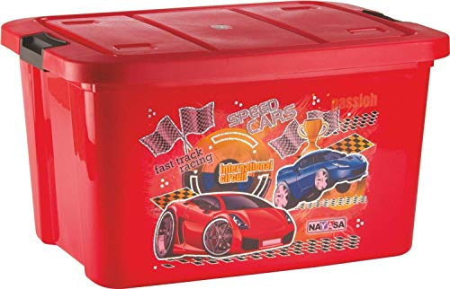 Nayasa Delux Plastic Toy Box, Red-50 Liters
